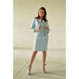 Komplet 'V' MARIE - chabrowy - sukienka z żakietem