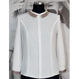Bluzka 'Angie' - biała ze złotawym wykończeniem