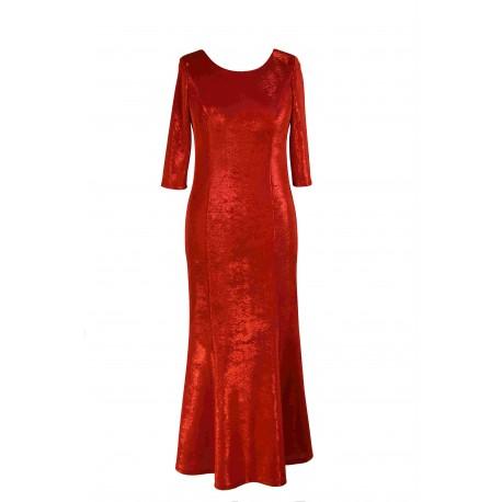 Suknia Hollywood czerwona - długa - tył z wycięciem