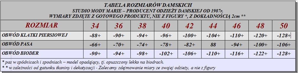 tabela rozmiarów marie
