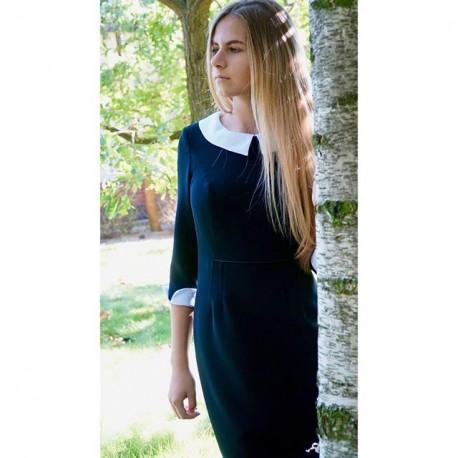 Sukienka czarna MARIE - z odpinanym kołnierzykiem i  mankietami