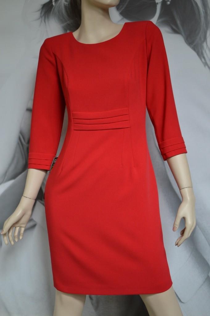 3bd94ea671 Sukienka Zakładki - czerwona 38-46 - Studio Mody MARIE