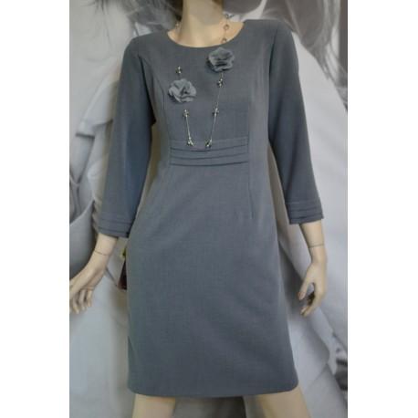 Sukienka Zakładki MARIE - popielata 38-46