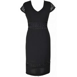 Sukienka Mała Czarna z koronką - dekolt w serek lub w łódkę