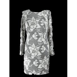Sukienka Valencia biało-popielata